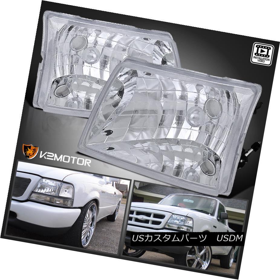 ヘッドライト 1998-2000 Ford Ranger Crystal Chrome Headlights Head Lamps 1998-2000フォードレンジャークリスタルクロームヘッドライトヘッドランプ