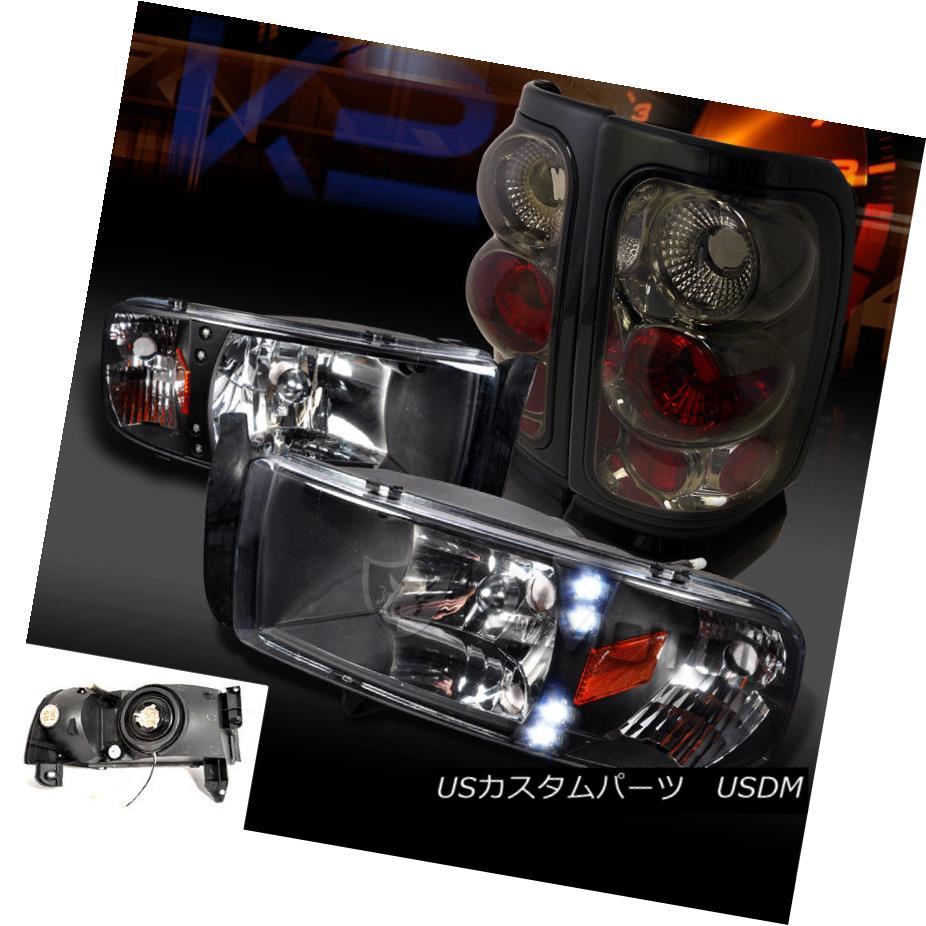 ヘッドライト 94-01 Dodge Ram 1500/2500/3500 Black LED DRL Headlights+Smoke Tail Brake Lamps 94-01 Dodge Ram 1500/2500/3500ブラックLED DRLヘッドライト+スモーク keテールブレーキランプ