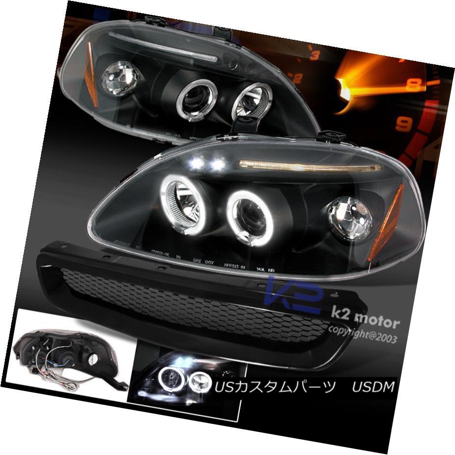 ヘッドライト Black Combo: For 96-98 Honda Civic Projector Halo Headlights+Metal Mesh Grille ブラックコンボ:96-98ホンダシビックプロジェクター用Haloヘッドライト+ Met  al Mesh Grille