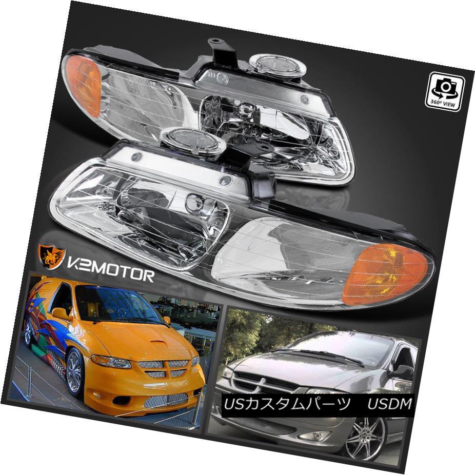 ヘッドライト 96-00 Dodge Caravan Chrysler Town & Country Voyager Crystal Clear Headlights 96-00 Dodge Caravan Chrysler Town& カントリーヴォイジャークリスタルクリアヘッドライト