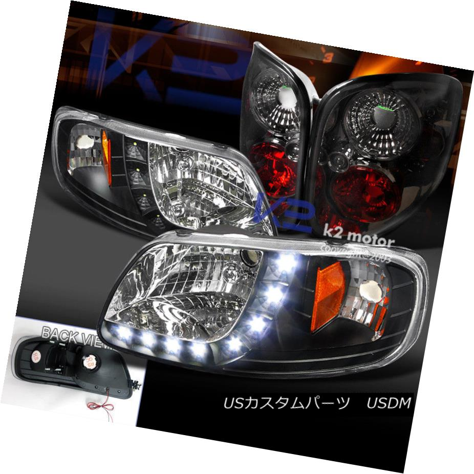 ヘッドライト 97-00 Ford F150 Pick Up Black SMD LED Headlight+Smoke Flareside Tail Lamp 97-00フォードF150ピックアップブラックSMD LEDヘッドライト+スモーク eフラレイドテールランプ