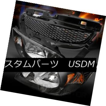 ヘッドライト For 2004-2005 Honda Civic Black Crystal Headlights+T-R Front Hood Mesh Grille 2004-2005ホンダシビックブラッククリスタルヘッドライト+ T-Rフロントフードメッシュグリル