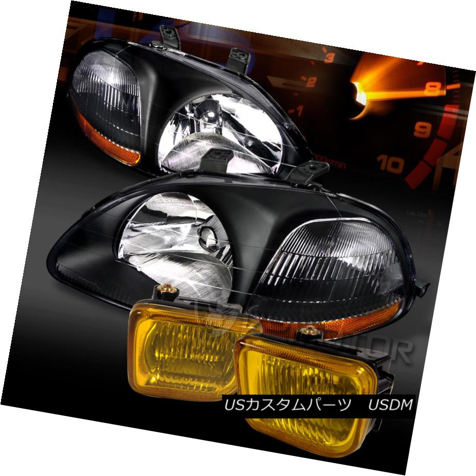 ヘッドライト Fit 96-98 Honda Civic JDM Crystal Black Headlights+Yellow Bumper Fog Lamps フィット96-98ホンダシビックJDMクリスタルブラックヘッドライト+イエロー 低バンパーフォグランプ