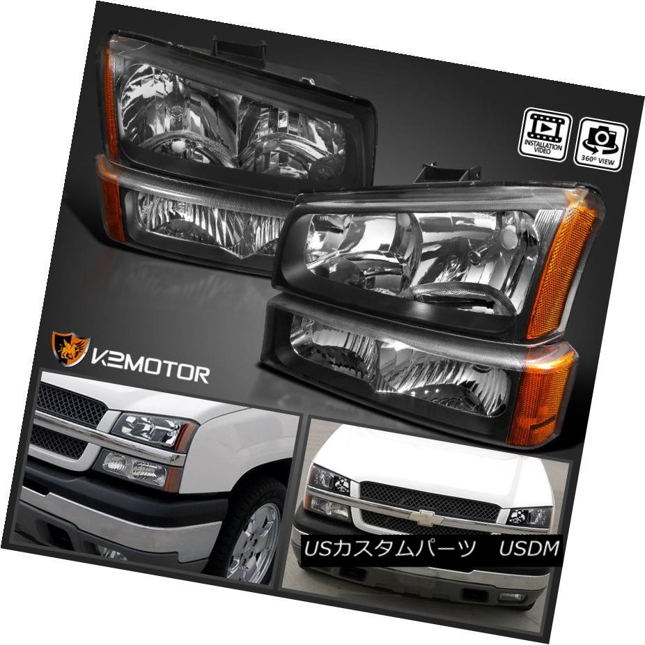 ヘッドライト 2003-2007 Chevy Silverado Black Headlights+Bumper Parking Lights Lamps 4PC 2003-2007シボレーシルバラードブラックヘッドライト+バーン パーキングライトランプ4本あたり