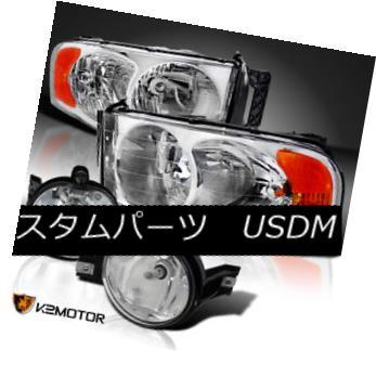 ヘッドライト 02-05 Dodge Ram Chrome Headlights Head Lamps+Clear Bumper Driving Fog Lights 02-05ダッジラムクロームヘッドライトヘッドランプ+クリアバンパー