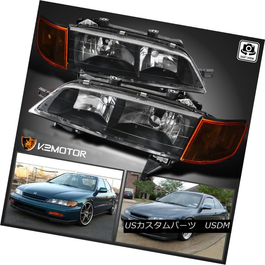 ヘッドライト For 1994-1997 Honda Accord Crystal Headlights+Corner Lamp JDM Black 1994-1997 Honda Accordクリスタルヘッドライト+ Cor ner Lamp JDM Black
