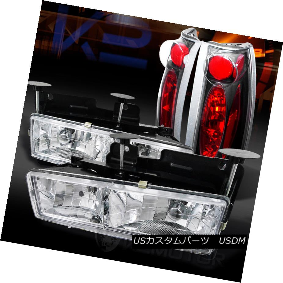ヘッドライト 88-98 Chevy/GMC C/K C10 Truck Chrome Headlights+Black Tail Brake Lamps 88-98シボレー/ GMC C / K C10トラッククロームヘッドライト+ Bla  ckテールブレーキランプ