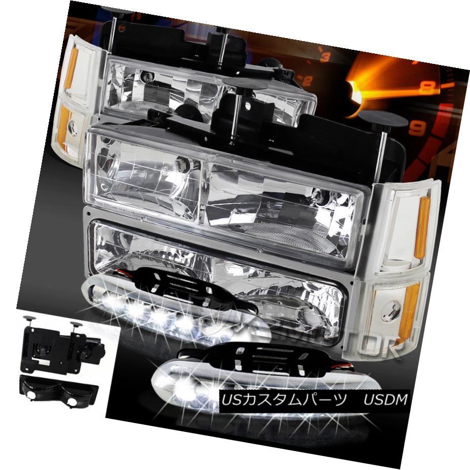 ヘッドライト 94-98 GMC Sierra Chrome Headlights Bumper Corner Lamps+LED Daytime DRL Fog Lamps 94-98 GMC Sierra Chromeヘッドライトバンパーコーナーランプ+ LED昼間DRLフォグランプ