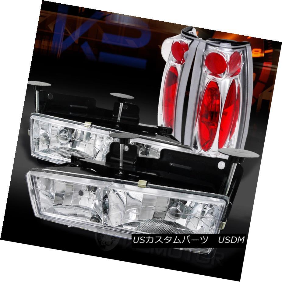 ヘッドライト 88-98 Chevy/GMC C/K C10 Truck Chrome Headlights+Chrome Rear Tail Lamps 88-98シボレー/ GMC C / K C10トラッククロームヘッドライト+ Chr  omeリアテールランプ