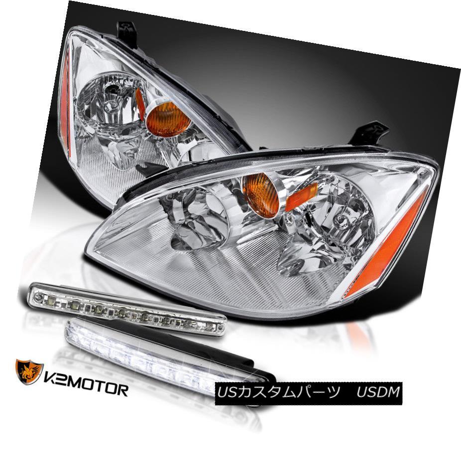 ヘッドライト For 2002-2004 Nissan Altima Crystal Chrome Headlights+8-LED DRL Fog Lamps 日産アルティマクリスタルクロムヘッドライト+ 8-L  ED DRLフォグランプ