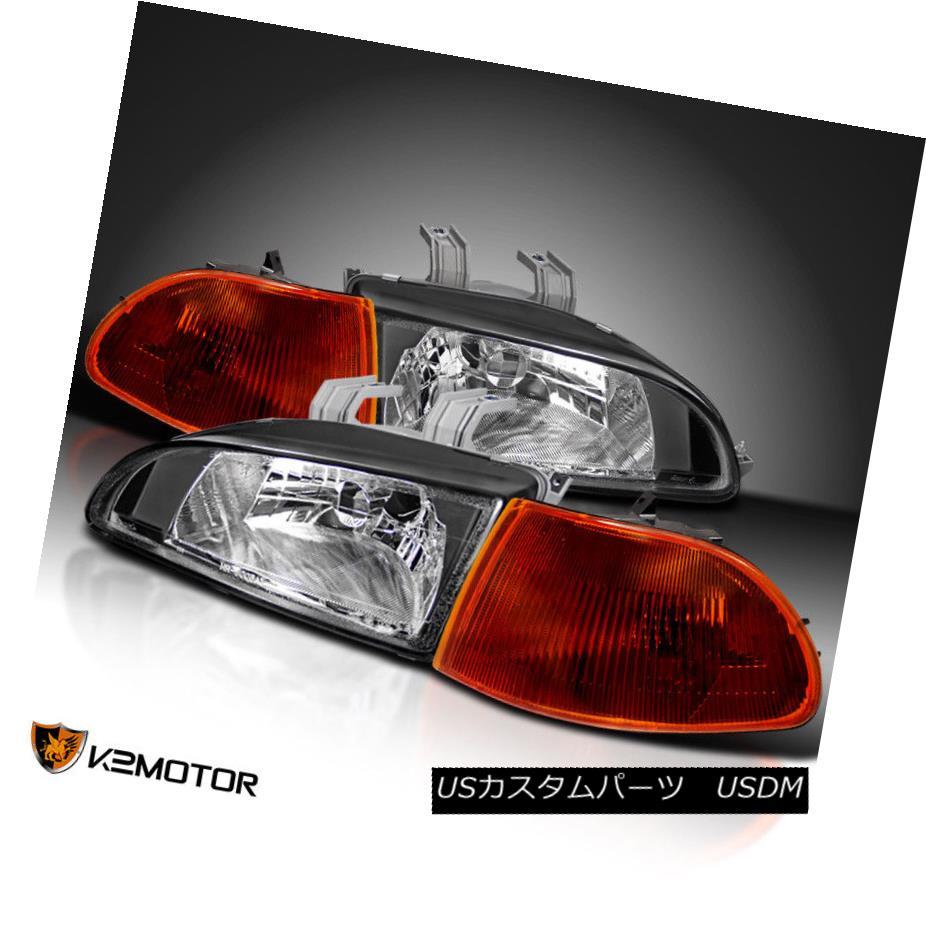 ヘッドライト For 92-95 Honda Civic 4Dr EG EH JDM Black Headlights+Smoke Amber Corner Lights 92-95ホンダシビック4Dr EG EH JDMブラックヘッドライト+スモーク keアンバーコーナーライト