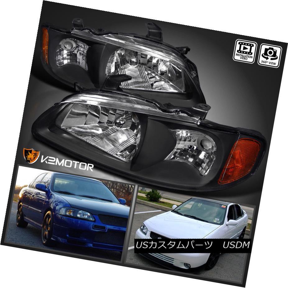 ヘッドライト Diamond Black Headlights Assembly For 2000-2003 Nissan Sentra ダイヤモンドブラックヘッドライトアセンブリ2000-2003日産セントラ