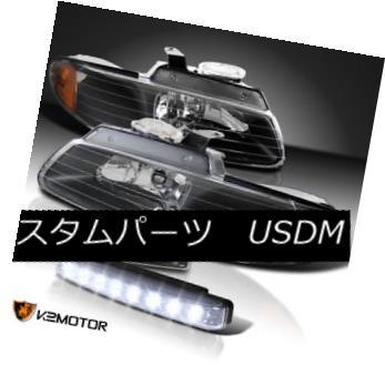ヘッドライト 96-00 Caravan Town & Country Voyager Black Headlights+8-LED Bumper DRL Lamps 96-00キャラバンタウン& カントリーヴォイジャーブラックヘッドライト+ 8-L  EDバンパーDRLランプ