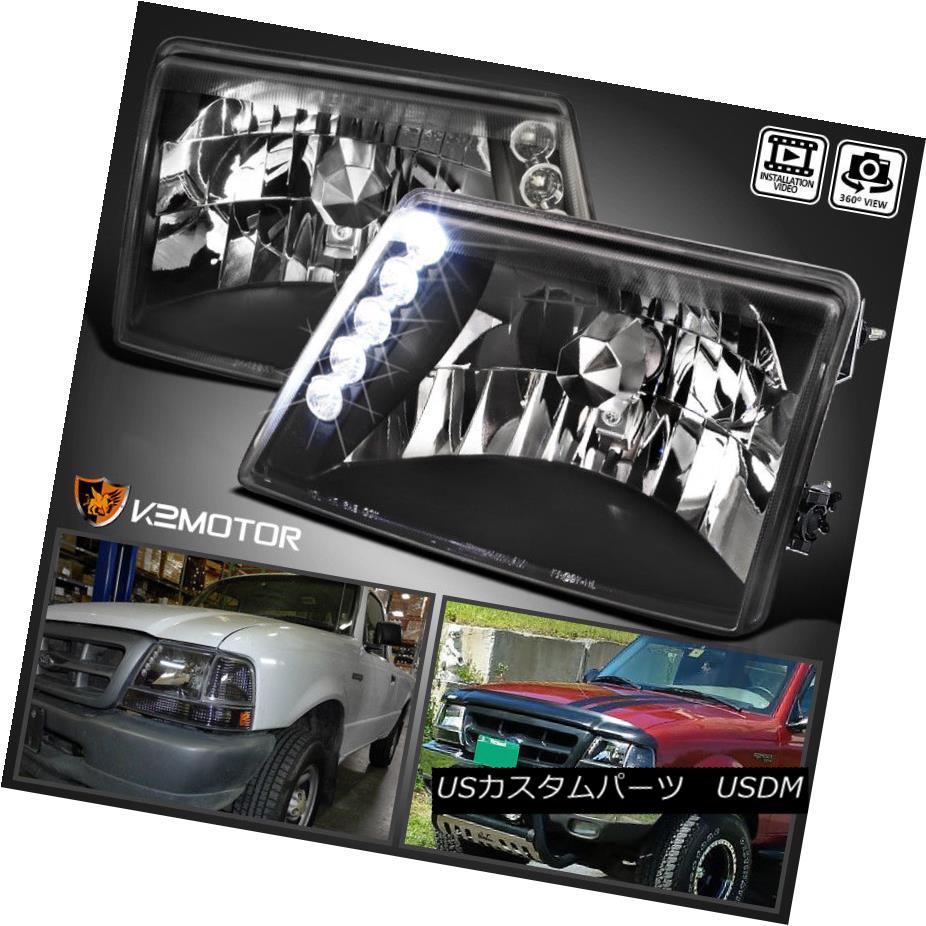 ヘッドライト Black 1998-2000 Ford Ranger LED Headlights Head Lamps Left+Right ブラック1998-2000フォードレンジャーLEDヘッドライトヘッドランプ左+右