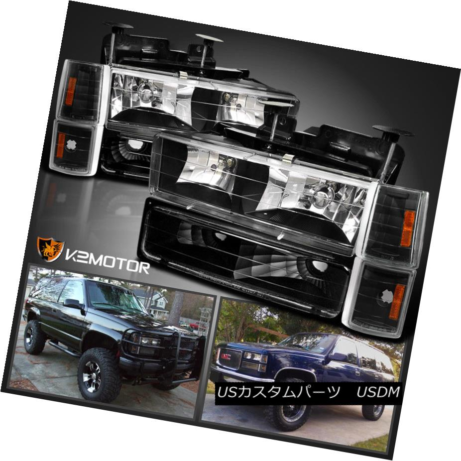 ヘッドライト 94-98 GMC C10 Sierra Yukon Black Headlights+Corner+Parking Bumper Lights w/Bulbs 94-98 GMC C10 Sierra Yukonブラックヘッドライト+コルク ner +パーキングバンパーライト(電球付き)