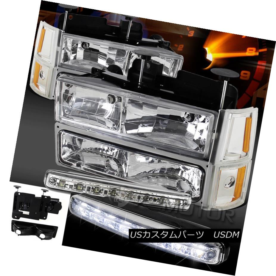 ヘッドライト 94-98 GMC C10 Suburban Chrome Headlights Bumper Corner Lights+8-LED DRL Fog Lamp 94-98 GMC C10郊外のクロームヘッドライトバンパーコーナーライト+ 8-LED DRLフォグランプ