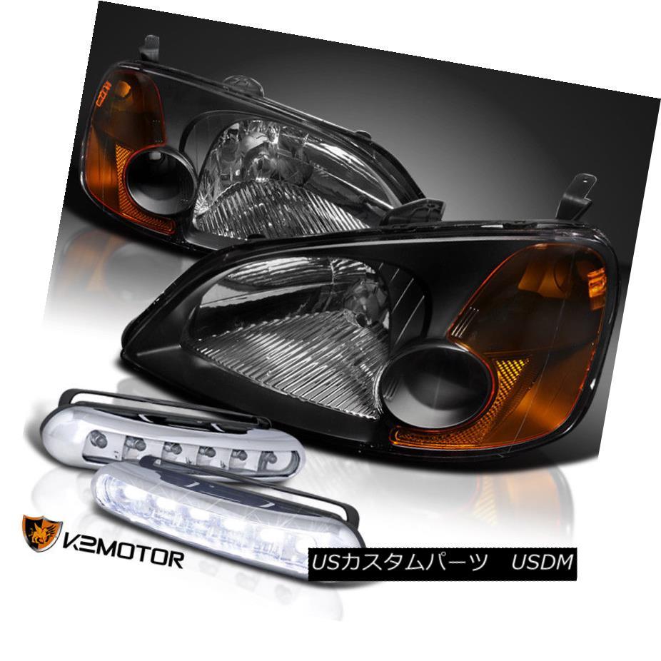 ヘッドライト For 01-03 Civic 2/4Dr Black Crystal Headlights+Daytime Running LED Fog Lamps 01-03シビック2 / 4Drブラッククリスタルヘッドライト+日用 時間LEDフォグランプの実行