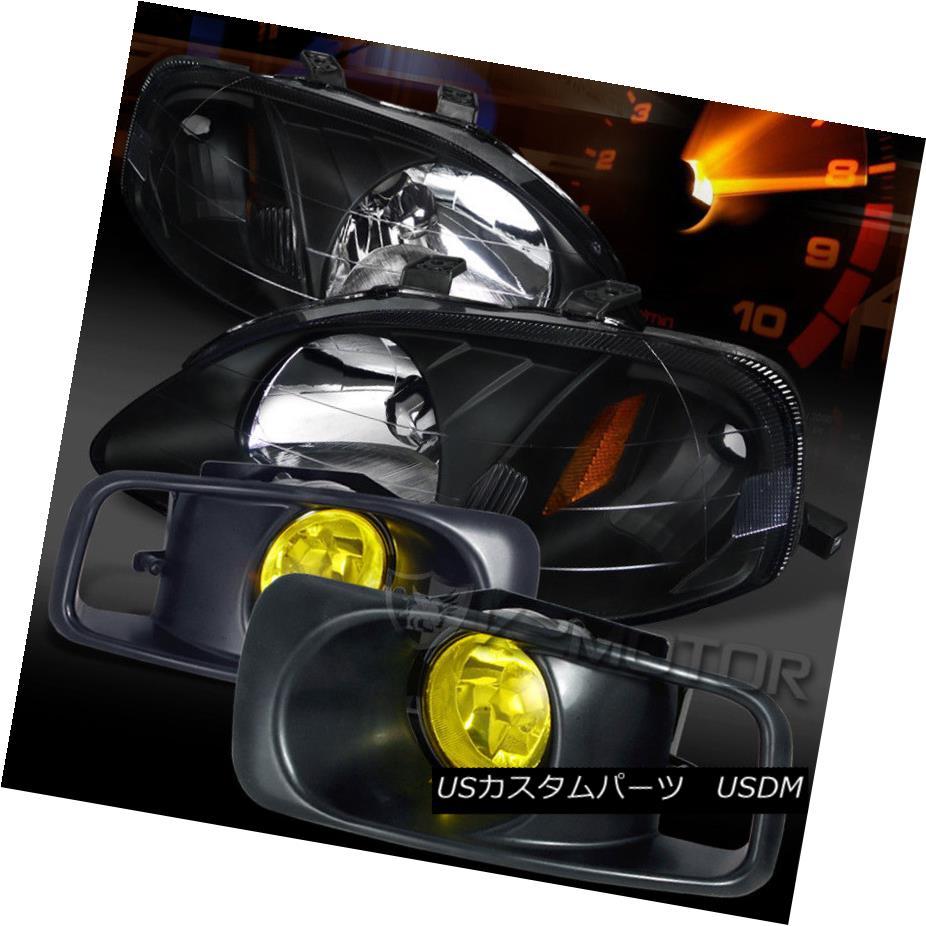 ヘッドライト Fit 99-00 Honda Civic JDM Black Crystal Headlights+Yellow Bumper Fog Lamps フィット99-00ホンダシビックJDMブラッククリスタルヘッドライト+イエロー 低バンパーフォグランプ