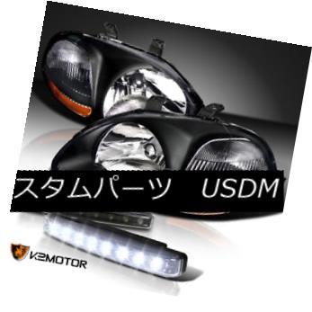 ヘッドライト For 1996-1998 Honda Civic JDM Black Crystal Headlights+8-LED Bumper DRL 1996-1998ホンダシビックJDMブラッククリスタルヘッドライト+ 8-L  EDバンパーDRL