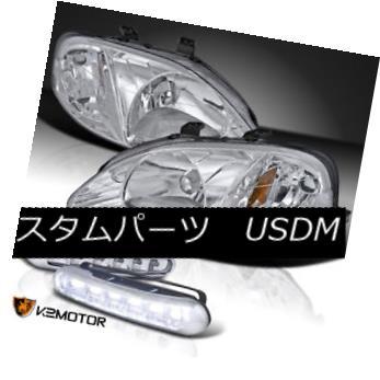 ヘッドライト For 99-00 Honda Civic Chrome Crystal Headlights w/ LED DRL Fog Bumper Lamps 99-00ホンダシビッククロームクリスタルヘッドライト(LED DRLフォグバンパーランプ付き)