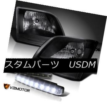 ヘッドライト Ford 97-02 F150 Expedition Diamond Black Headlights+8-LED Bumper Fog Lamp DRL フォード97-02 F150遠征ダイヤモンドブラックヘッドライト+ 8-L  EDバンパーフォグランプDRL