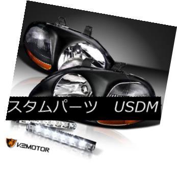 ヘッドライト For 1996-1998 Honda Civic JDM Black Crystal Headlights+6-LED Bumper DRL 1996-1998ホンダシビックJDMブラッククリスタルヘッドライト+ 6-L  EDバンパーDRL
