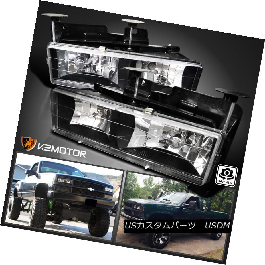ヘッドライト 88-98 Chevy GMC C10 C/K Truck Headlights Lamps Pair Black (Bulbs Included) 88-98シボレーGMC C10 C / Kトラックヘッドライトランプペアブラック(球根含む)