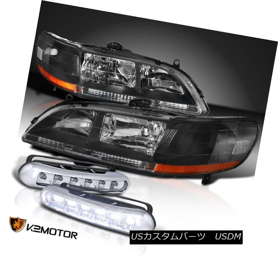 ヘッドライト Fit 98-02 Accord Black Front Diamond Headlights+LED DRL Bumper Fog Lamps フィット98-02アコードブラックフロントダイヤモンドヘッドライト+ LED DRLバンパーフォグランプ