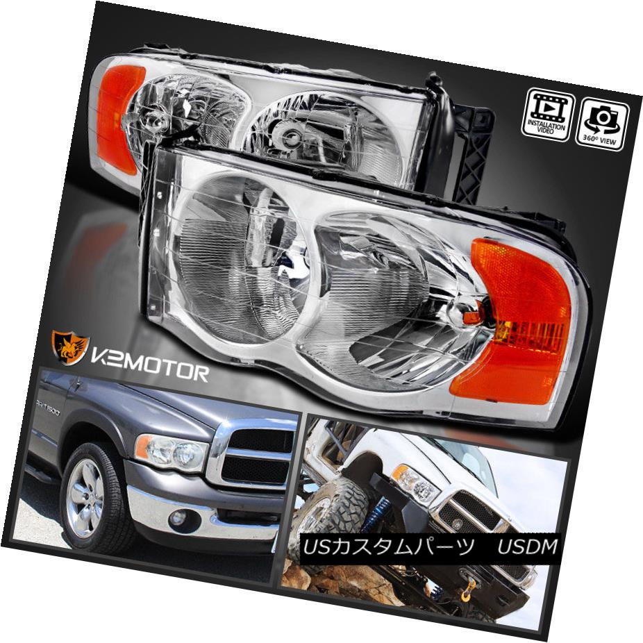 ヘッドライト 2002-2005 Dodge Ram 1500/2500/3500 Crystal Clear Replacement Headlights PAIR 2002-2005 Dodge Ram 1500/2500/3500クリスタルクリアヘッドライトPAIR