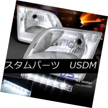 ヘッドライト 97-02 Ford F150 Expedition Chrome Headlights+6-LED Bumper DRL Daytime Fog Lamp 97-02フォードF150遠征クロームヘッドライト+ 6-L  EDバンパーDRL昼間フォグランプ