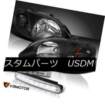 ヘッドライト For 99-00 Honda Civic Black Diamond Headlight+LED DRL Bumper Fog Light 4pc 99-00ホンダシビックブラックダイヤモンドヘッドライト+ LED DRLバンパーフォグライト4pc
