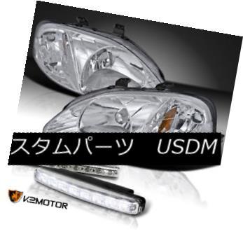 ヘッドライト For 1999-2000 Honda Civic JDM Chrome Crystal Headlights+8-LED Bumper DRL 1999-2000ホンダシビックJDMクロームクリスタルヘッドライト+ 8-L  EDバンパーDRL