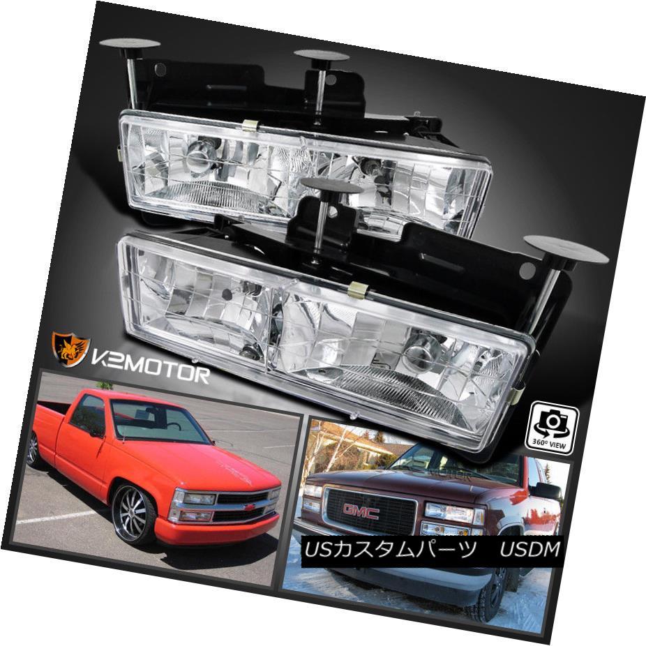 ヘッドライト 1988-1998 Chevy GMC C10 C/K Truck Headlights Lamps Pair Chrome (Bulbs Included) 1988-1998シボレーGMC C10 C / Kトラックヘッドライトランプペアクローム(球根含む)