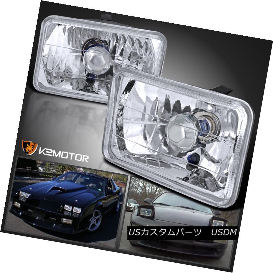 ヘッドライト 4X6 Chrome Sealed Beam H4 Headlights Square Lamps Pair 4X6クロームシールドビームH4ヘッドライトスクエアランプペア