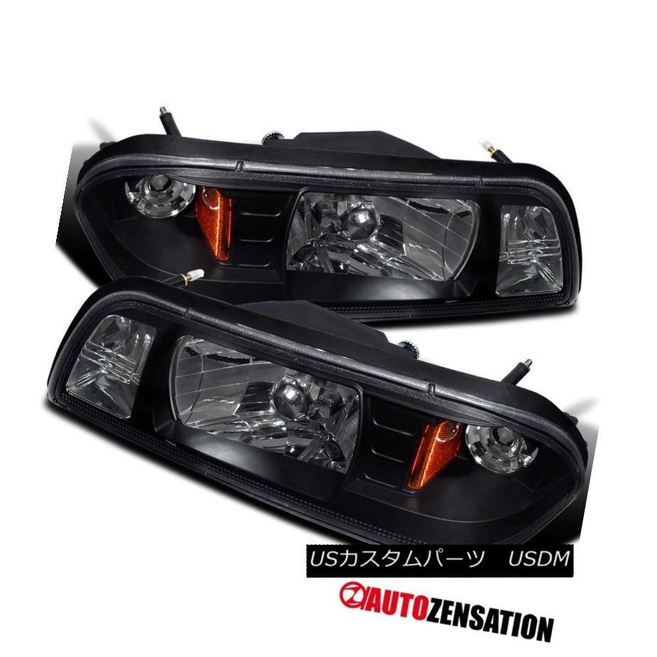 ヘッドライト 87-93 Ford Mustang Black 1pc Headlights Corner Signal Parking Lights 87-93フォードマスタングブラック1pcヘッドライトコーナー信号駐車ライト