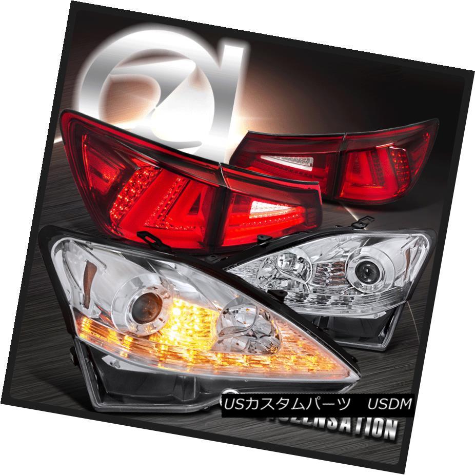 ヘッドライト 06-08 IS250 Chrome LED DRL+Signal Projector Headlights+Red LED Tail Brake Lamps 06-08 IS250クロームLED DRL +信号プロジェクターヘッドライト+レッドLEDテールブレーキランプ