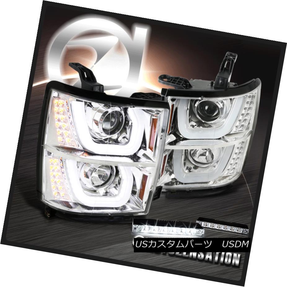 ヘッドライト 14-15 Chevy Silverado Halo LED Signal Projector Headlight+6-LED Bumper Fog Lamp 14-15 Chevy Silverado Halo LEDプロジェクターヘッドライト+ 6-LE Dバンパーフォグランプ