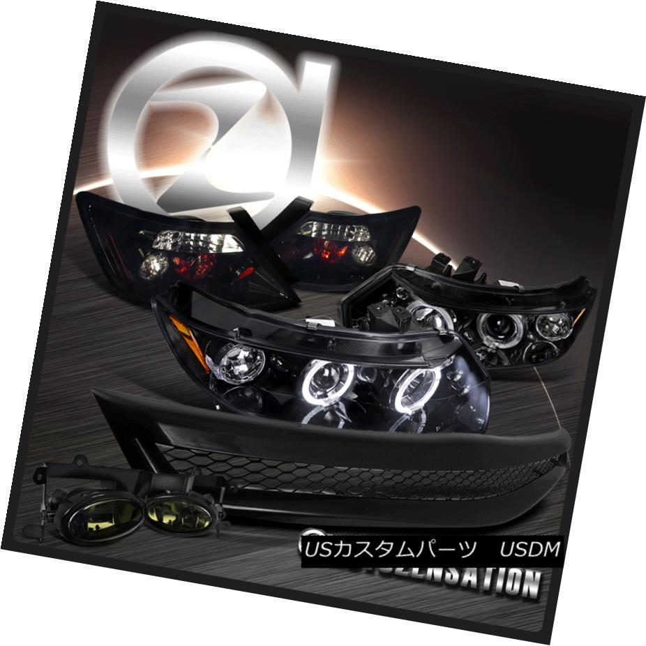 ヘッドライト Piano Black For 06-08 Civic Projector LED Headlights+Tail Lamps+Smoke Fog+Grille ピアノブラック06-08シビックプロジェクターLEDヘッドライト+タイ lランプ+スモークフォグ+グリル