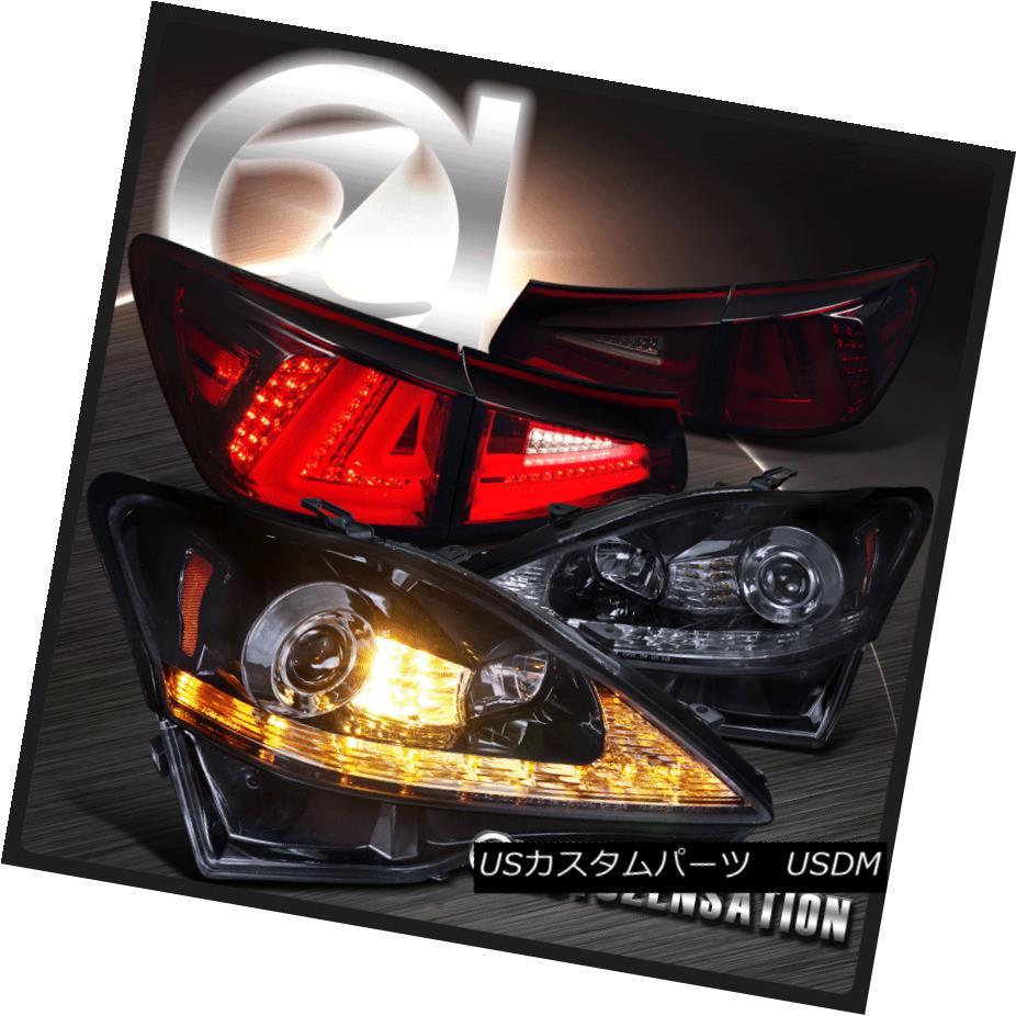 ヘッドライト 06-08 IS250 Glossy Black LED Signal Projector Headlights+Red Smoke Tail Lamps 06-08 IS250光沢のある黒色LEDシグナルプロジェクターヘッドライト+赤煙テールランプ