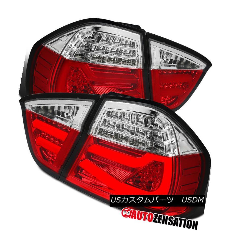 ヘッドライト BMW 05-08 3-Series E90 4DR Tube LED Bar Clear Red Tail Lights Rear Lamps Pair BMW 05-08 3シリーズE90 4DRチューブLEDバークリアレッドテールライトリアランプペア