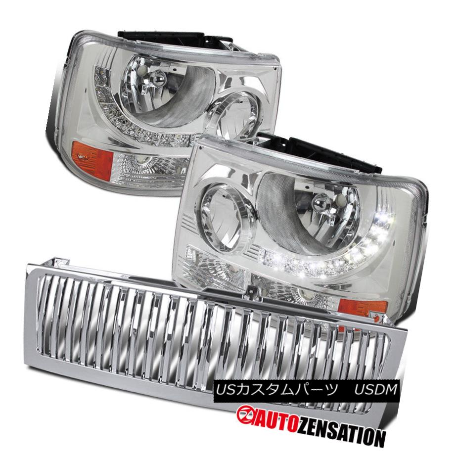 ヘッドライト 99-02 Chevy Silverado Clear LED 1PC Style Headlights+Chrome Vertical Hood Grille 99-02 Chevy SilveradoクリアLED 1PCスタイルヘッドライト+ Chr  ome Vertical Hood Grille