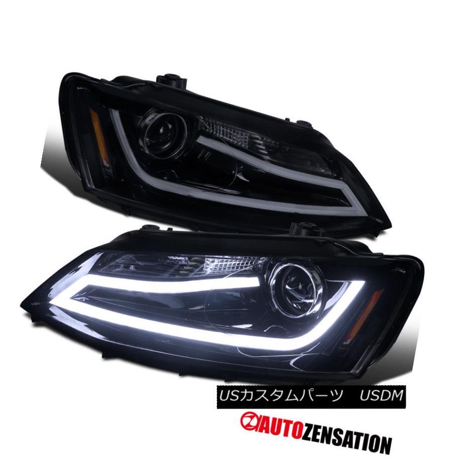 ヘッドライト For 11-14 Jetta Glossy Black Smoke DRL Daytime Running LED Projector Headlights 11-14ジェッタ光沢ブラックスモークDRLデイタイムランニングLEDプロジェクターヘッドライト用