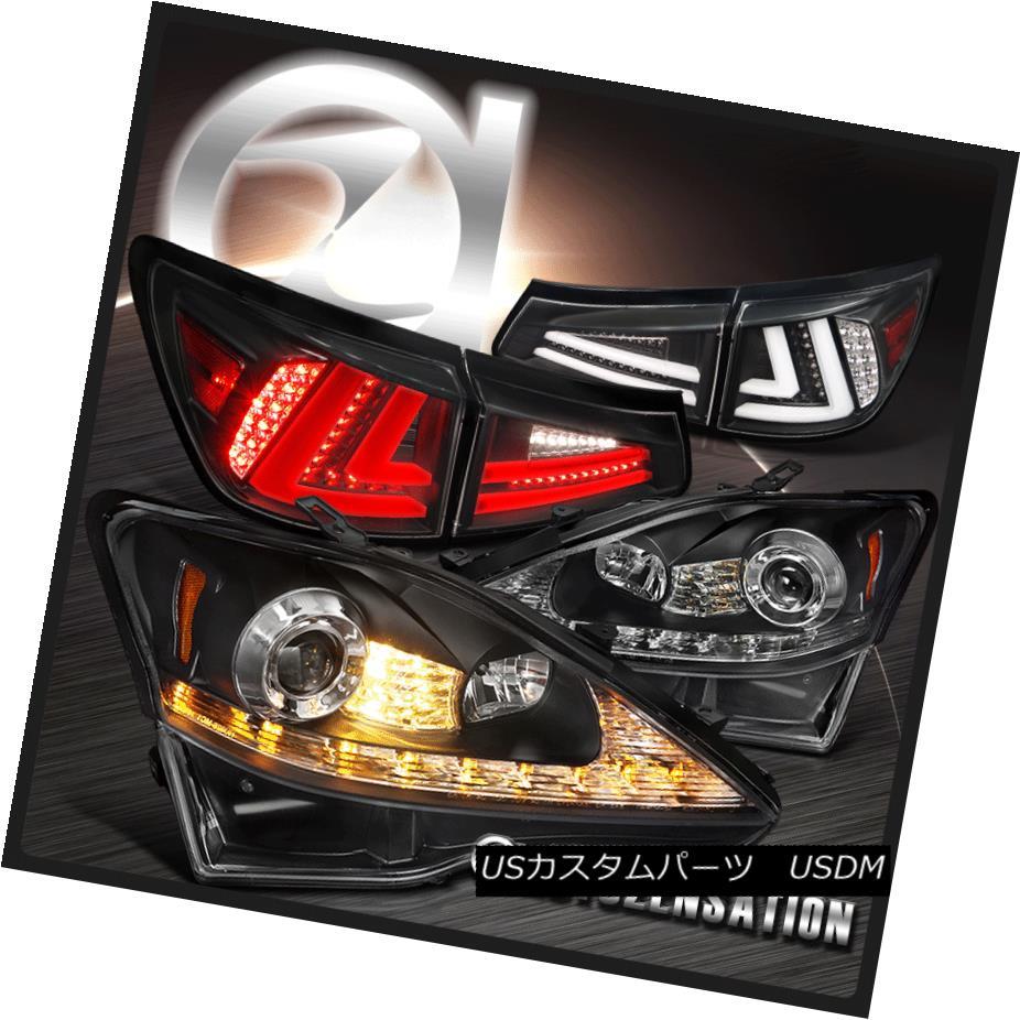 ヘッドライト 06-08 IS250 Black SMD LED DRL+Signal Projector Headlights+LED Tail Brake Lamps 06-08 IS250ブラックSMD LED DRL +信号プロジェクターヘッドライト+ LEDテールブレーキランプ