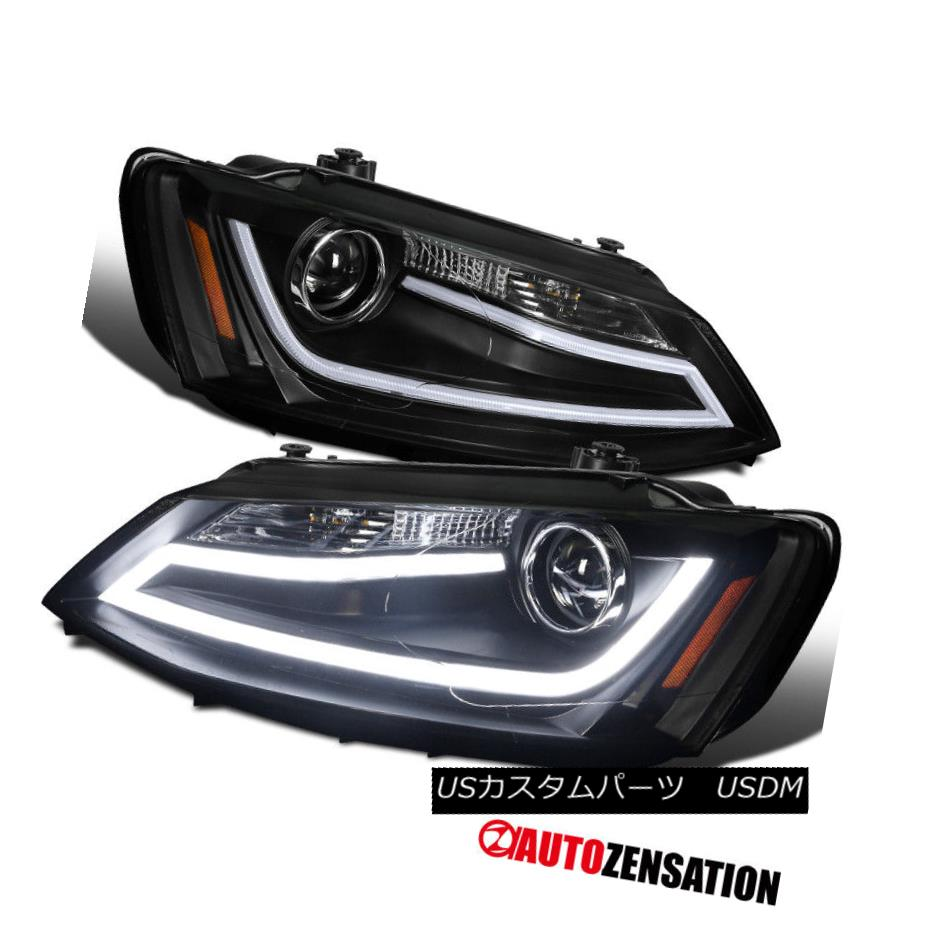 ヘッドライト For 11-14 VW Jetta Black Fiber Optic Daytime Running LED Projector Headlights 11-14 VW Jetta Black Fiber OpticデイタイムランニングLEDプロジェクターヘッドライト用