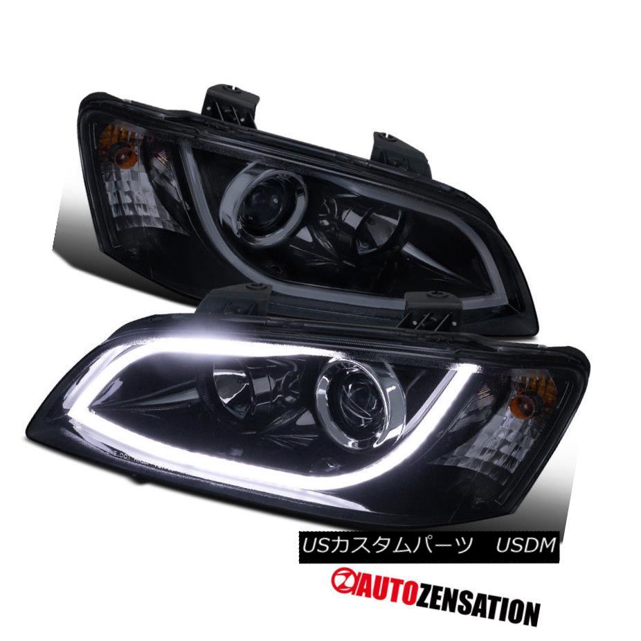 ヘッドライト 08-09 Pontiac G8 Glossy Black Daytime Running LED Projector Headlights 08-09ポンティアックG8光沢ブラックデイタイムランニングLEDプロジェクターヘッドライト