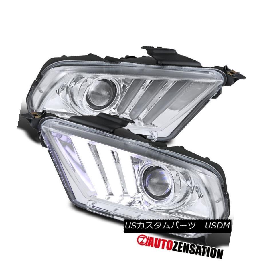 ヘッドライト 10-14 Ford Mustang Chrome Projector Headlights w/Sequential LED DRL Turn Lights 10-14フォードマスタングクロームプロジェクターヘッドライト(シーケンシャルLED DRLターンライト付き)