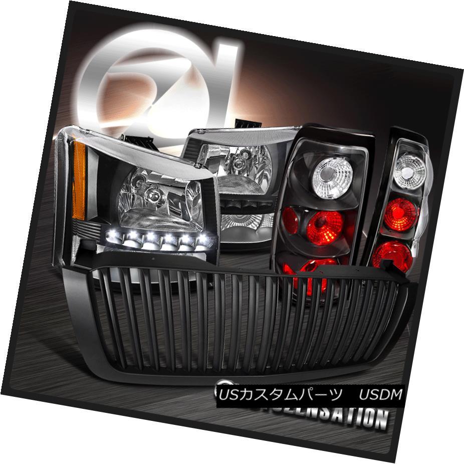 ヘッドライト 03-05 Silverado Black SMD LED DRL Headlight+Bumper+Tail Lamp+Hood Grille 03-05 Silverado Black SMD LED DRLヘッドライト+バンプ er +テールランプ+フードグリル