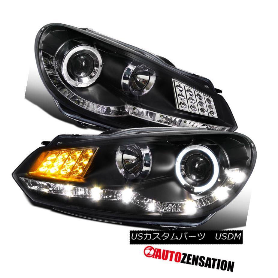 ヘッドライト For 09-12 VW Golf Mk6 GTI Black Halo LED Signal DRL Projector Headlights 09-12 VWゴルフMk6 GTIブラックハローLED信号用DRLプロジェクターヘッドライト