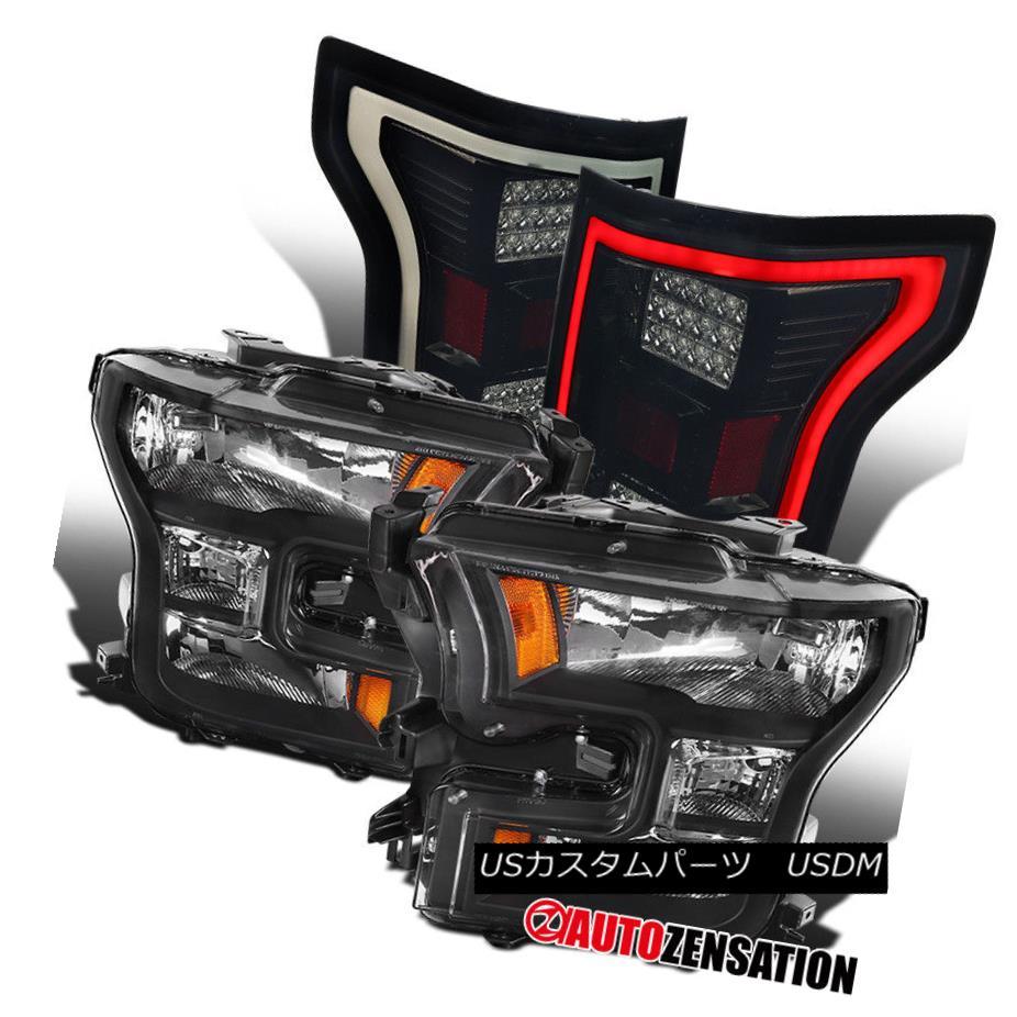 ヘッドライト Ford 15-17 F150 Truck Black Headlights+LED Glossy Black Tail Lamps Replacement フォード15-17 F150トラックブラックヘッドライト+ LED光沢のあるブラックテールランプの交換
