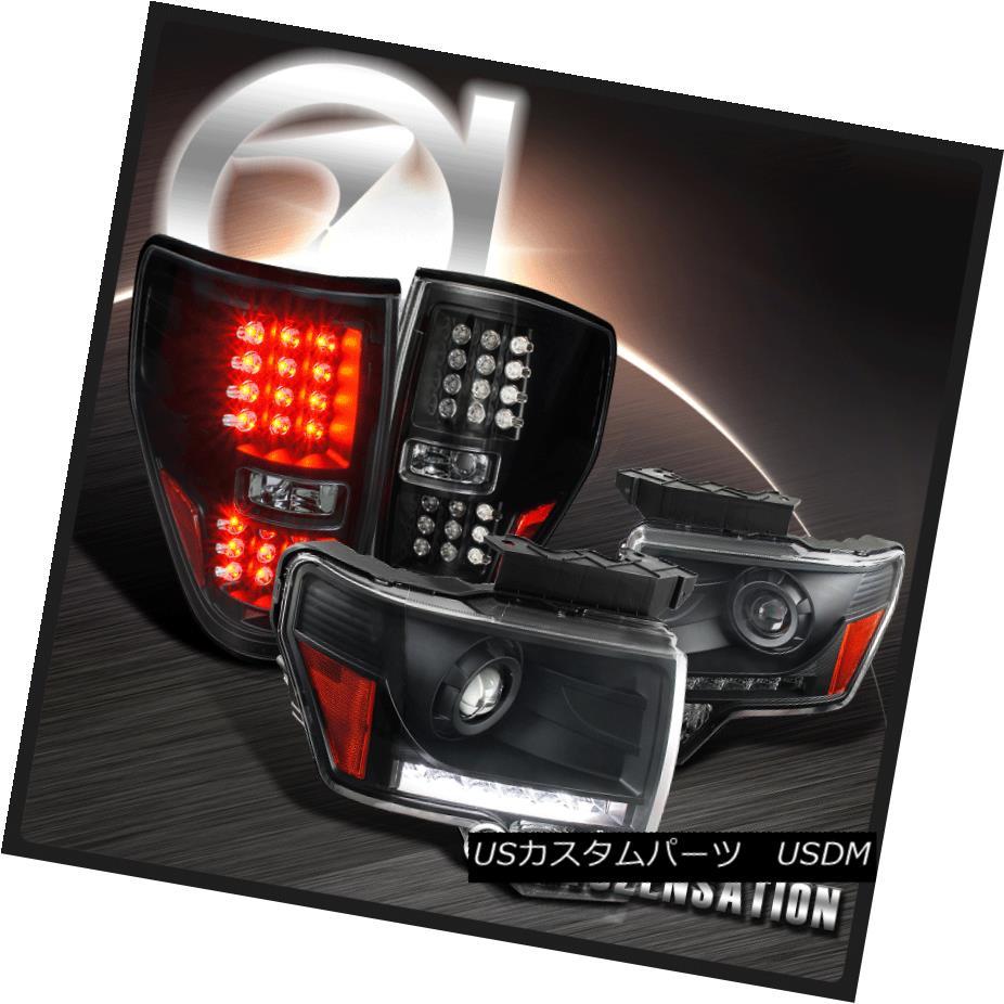 ヘッドライト 2009-2014 Ford F150 Black Projector LED DRL Strip Headlight+LED Tail Light 2009-2014フォードF150ブラックプロジェクターLED DRLストリップヘッドライト+ LEDテールライト